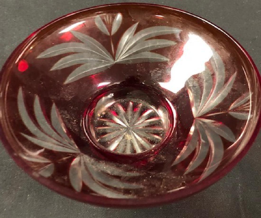 Vintage USSR Red Cut Glass Bowl