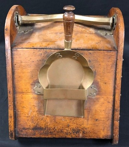 Antique Wood and Brass Coal Scuttle