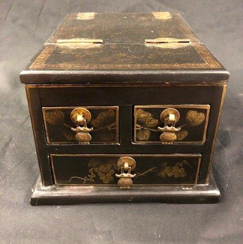 Asian Painted Wood Jewelry Box