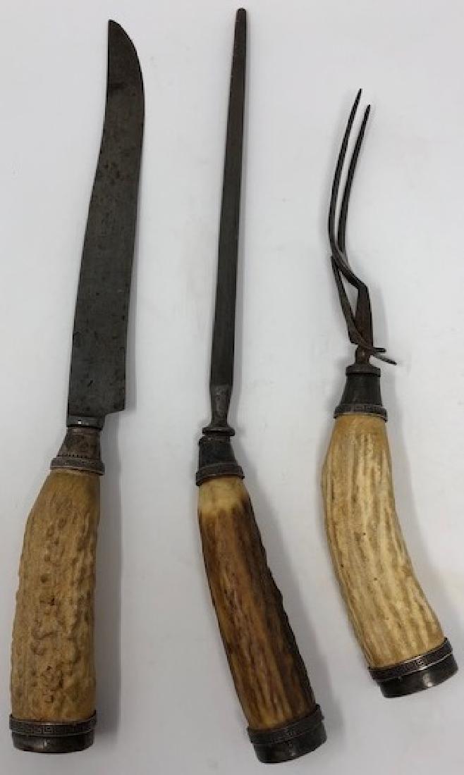 Antique Stag Antler Handled Carving Set