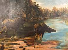 Hudson River School Style Moose Painting