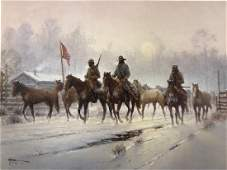 G Harvey Horses for the Confederacy Lithograph