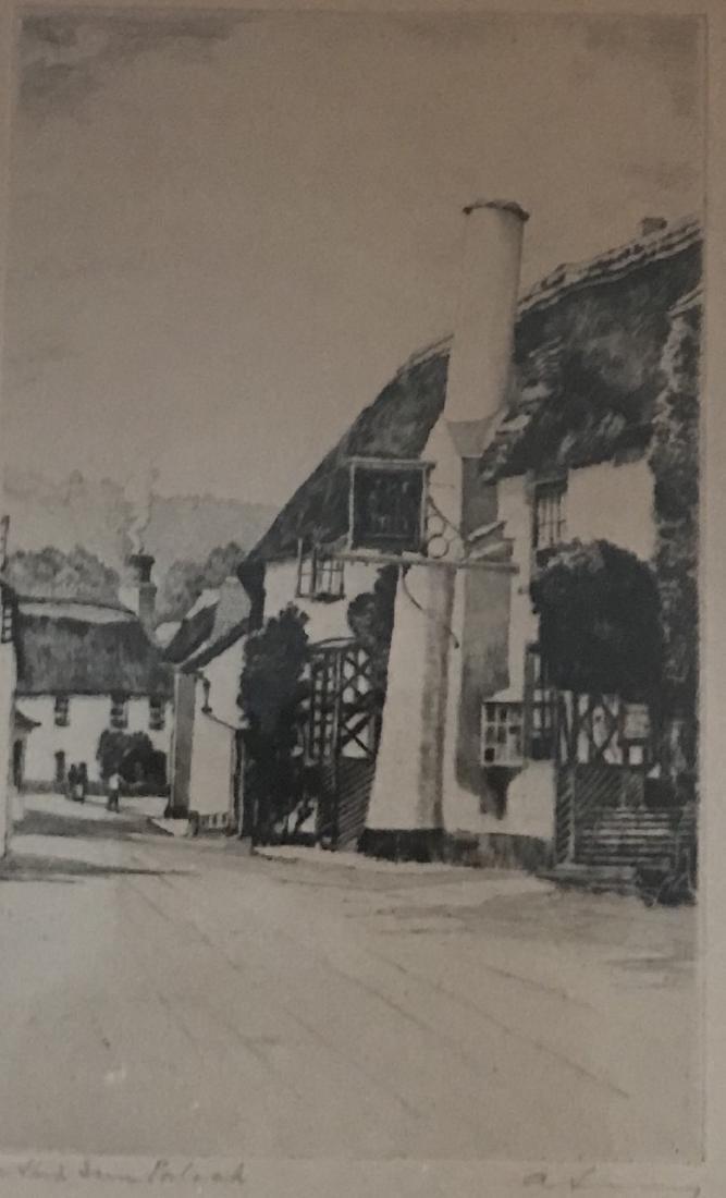 Vintage Signed Etching depicting Polish Barn Village