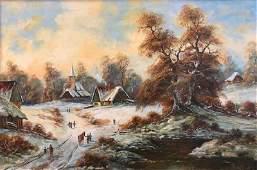 Signed Original Winter Scene Oil Painting