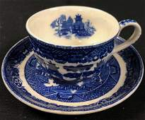 Antique Blue Willow Teacup and Saucer