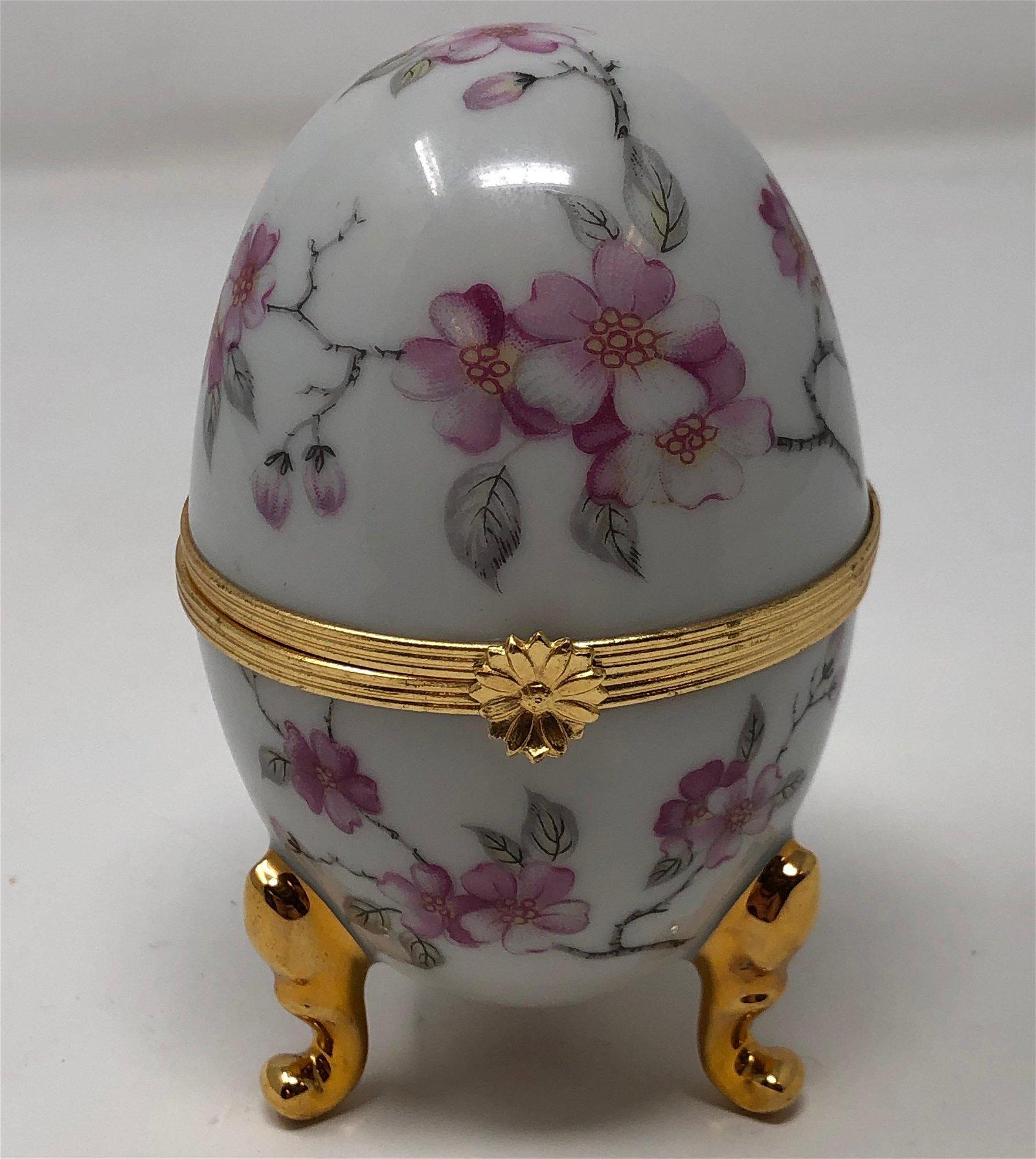 Vintage Limoges France Footed Egg Trinket Box