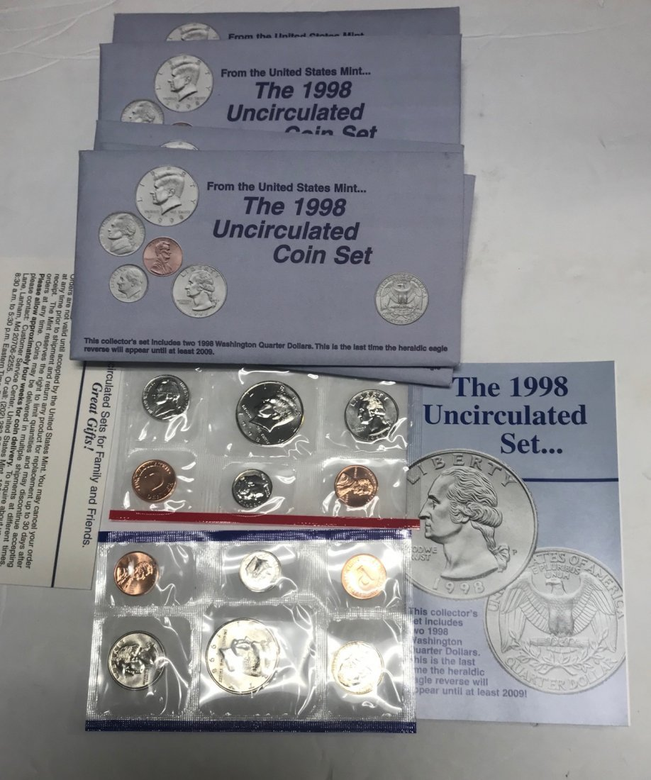 LOT OF 5 1998 Uncirculated US Mint Coin Set P & D