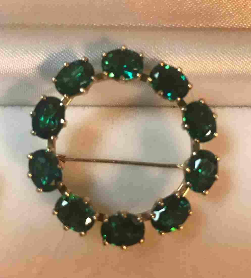 Genuine Emerald and 14 K Gold Ladies Brooch