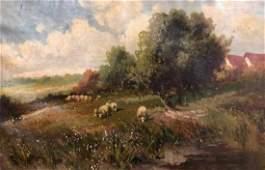 19th C. Signed, Pastoral Scene Original Oil Painting