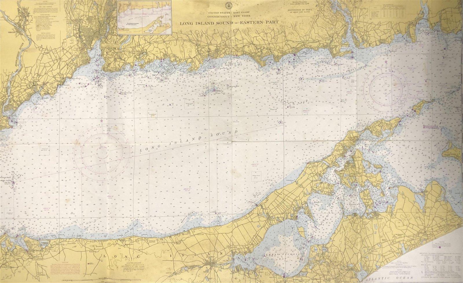 Nautical Map / Sea Chart, #1212 Long Island Sound -