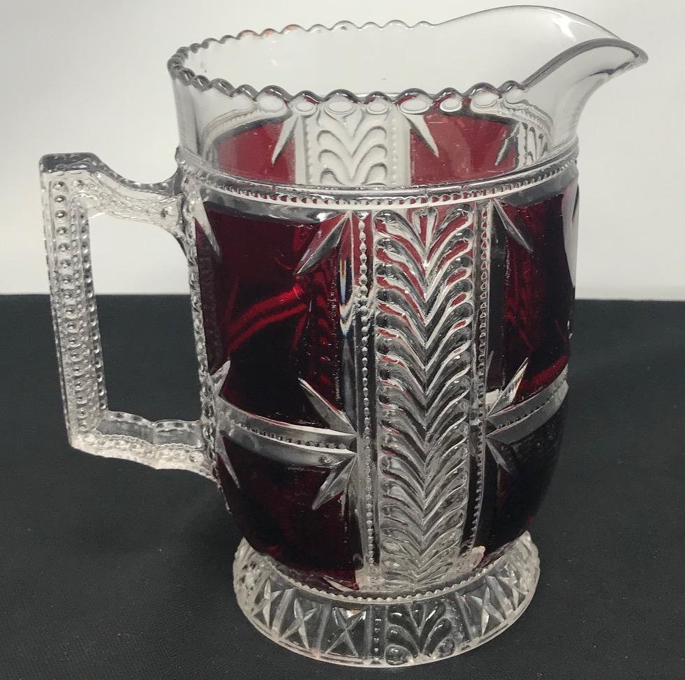 Crystal Cut Glass Pitcher with Ruby colored glass