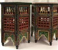 Gorgeous Pair Moroccan Moucharabieh Hand painted End