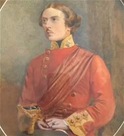 Signed Watercolor, portrait, Man in uniform