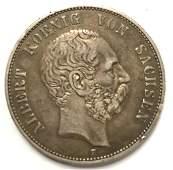 1893 Silver Coin 1893 E Albert Koenig von Sachsen