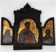 Antique TRIPTYCH Folding Orthodox Greek Religious Icon