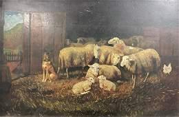 19th Century Farm Scene Oil