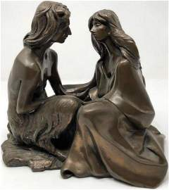 Vintage Couple About to Kiss Bronze