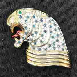 Silver ton Metal & Crystal Glass Stone Walrus Brooch