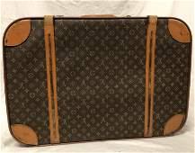 Vintage LOUIS VITTON suitcase, canvas and leather