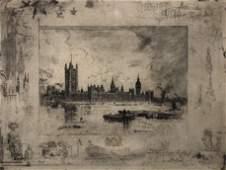 FELIX BUHOT signed etching 1884