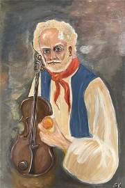 Signed, S. K. oil on canvas, portrait of a violinist.