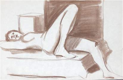 Marc Carter FEMALE NUDE sketch charcoal paper