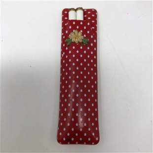 Ladies red white dotted WHITE BONElike mechanical pen