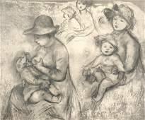Original Pierre Auguste Renoir Etching 17 x 12