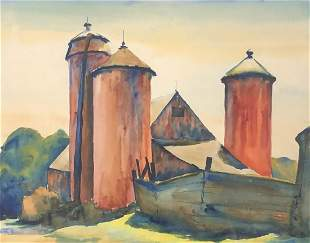 Obscure Signed Watercolor Painting of a Barn
