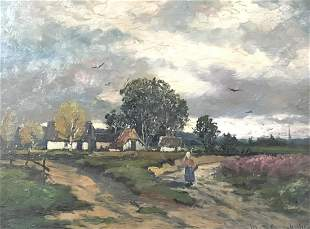 19 th  century Signature obscure German Oil Painting