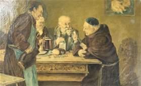 19 th Century oil painting depicting priest / elders
