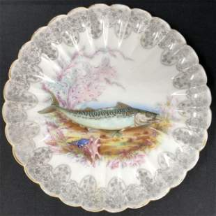 Signed Limoges Plate W/ Fish design