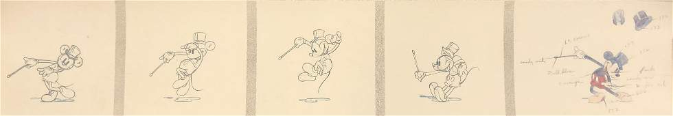 ORIG DISNEY MICKEY MOUSE ART print(s) 5 panel MUSEUM