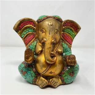 Antique bronze cloisonné Ganesh/ Colorful