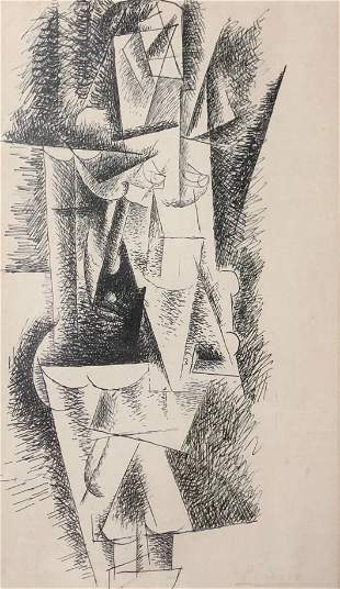 Abstract Pencil signed Picasso etching print