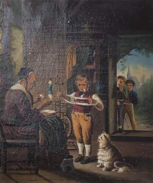 Late 19 th  century oil painting on canvas