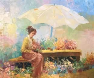 Gilt Framed Signed MANOL Female Oil painting