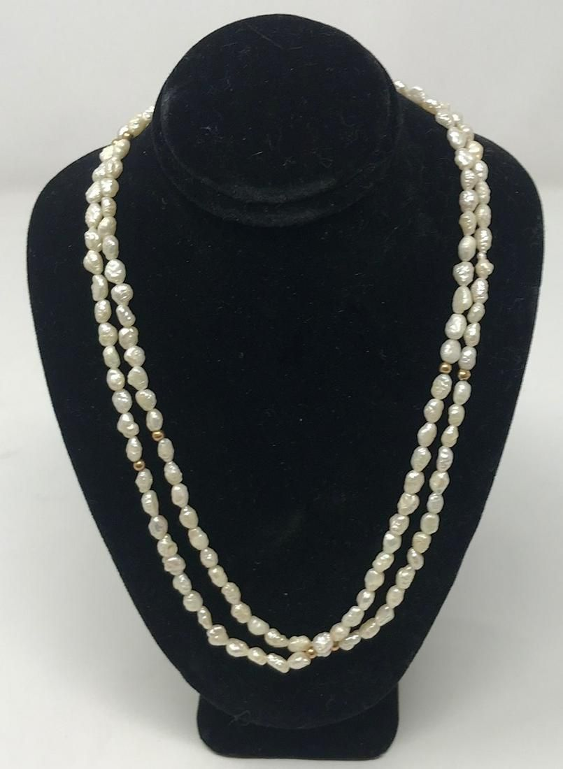 14k gold filled fine pearl beaded necklace