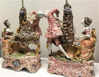 Gorgeous Pair Large Capodimonte Collectible Lamps
