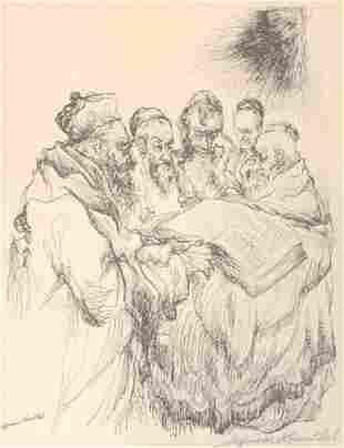 Seymour Rosenthal signed etching depicting Jewish