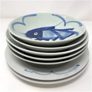 Vintage Six Chinese plates in blue and white and