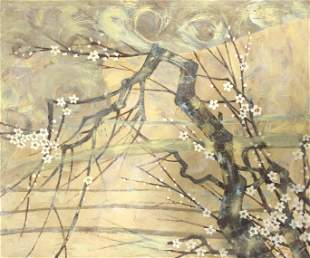 Large Abstract Tree and Floral Painting