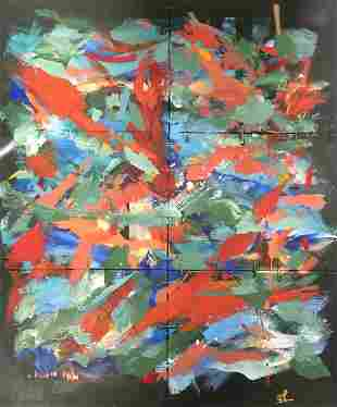 Signed Tyler Javitz Abstract oil painting