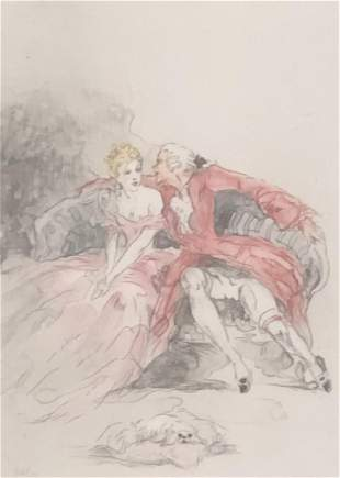 Original Louis Icart Etching / Titled A PROPOSITION