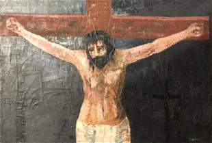 Striking signed E W Jean oil painting of Jesus