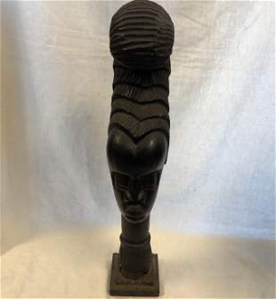 Vintage African Weighty Female long hair statue