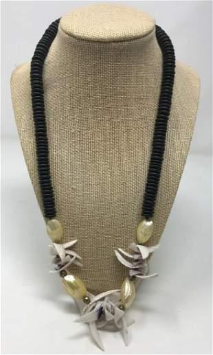 Vintage Estate large Pearl /black onyx sea shell