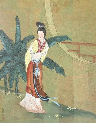 Signed and stamped Asian / Lady Geisha watercolor