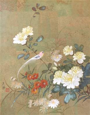 Signed and stamped Asian flowers Bird watercolor sketch