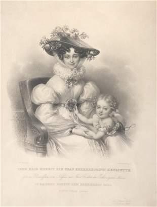 Antique Johanne Ender Engraved print/FRAU ERZHERZOGINN
